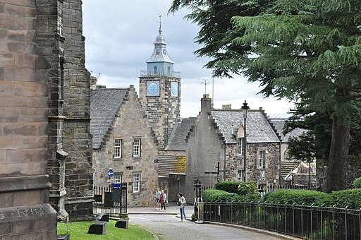 The Tolbooth amidst Old Town houses in Stirling