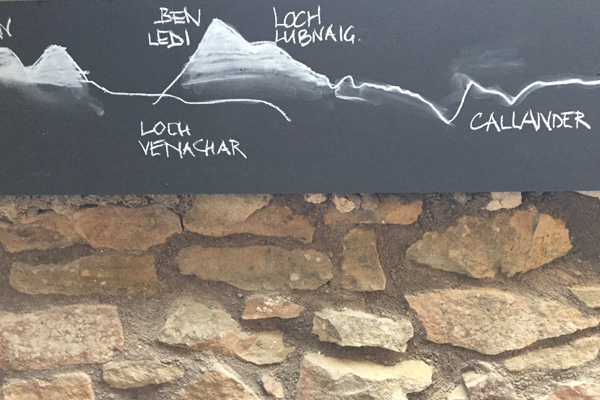 Chalk drawings of hills visible from lounge window