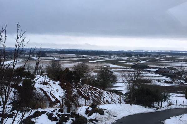A snowy view across the Carse of Stirling