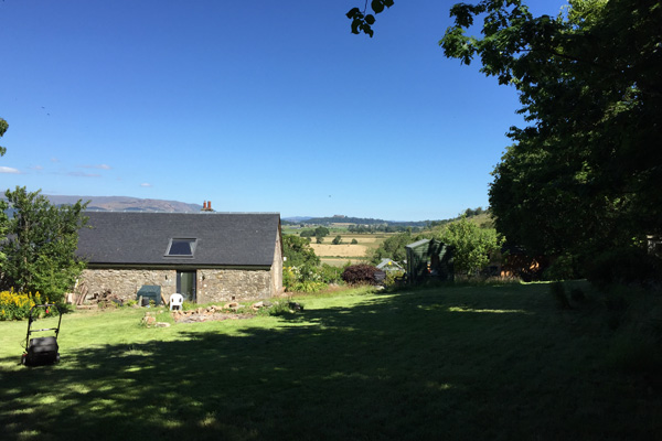 View towards Ailsa Barn from top of garden looking East towards Stirling Castle