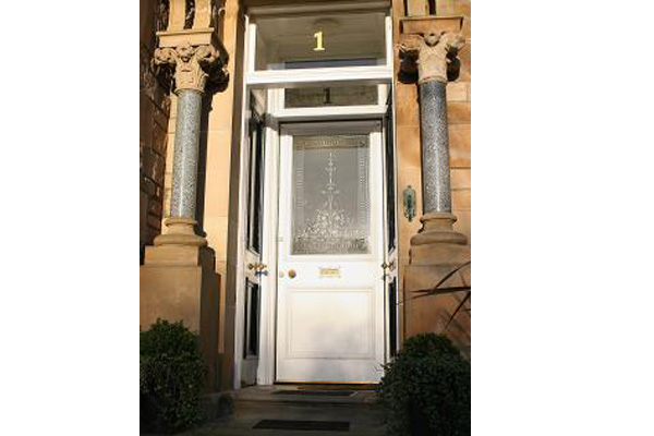 marble pillared front entrance