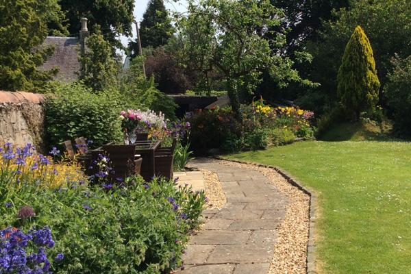 large, extensive garden