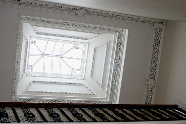 large cupola in upper hallway floods light into the entire hallway