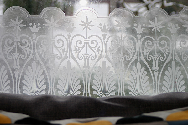 original etched glass in Drawing Room