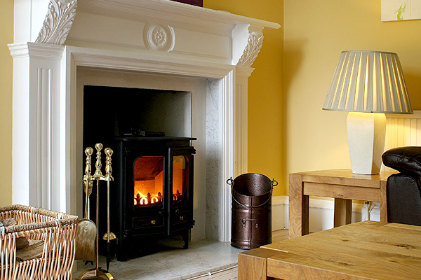 TV Lounge with log burning stove